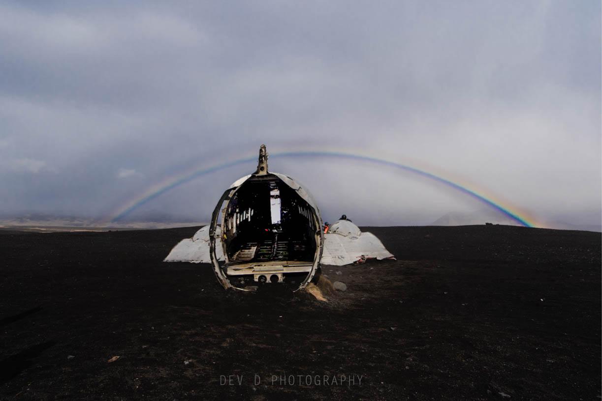 Rainbow lit Solheimasandur plane crash