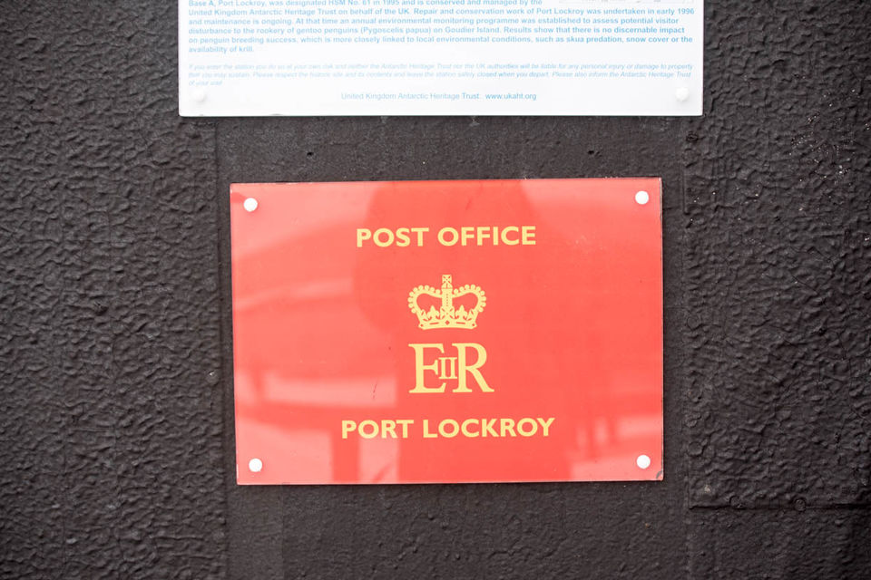 The iconic Port Lockroy board