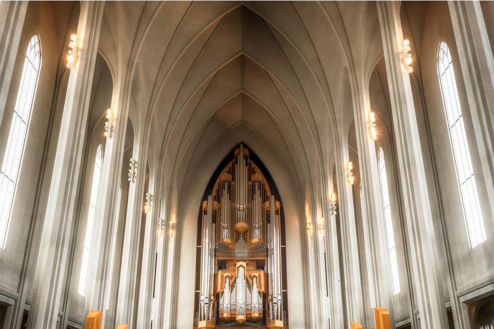 Interior of Hallgrimskirkja Church